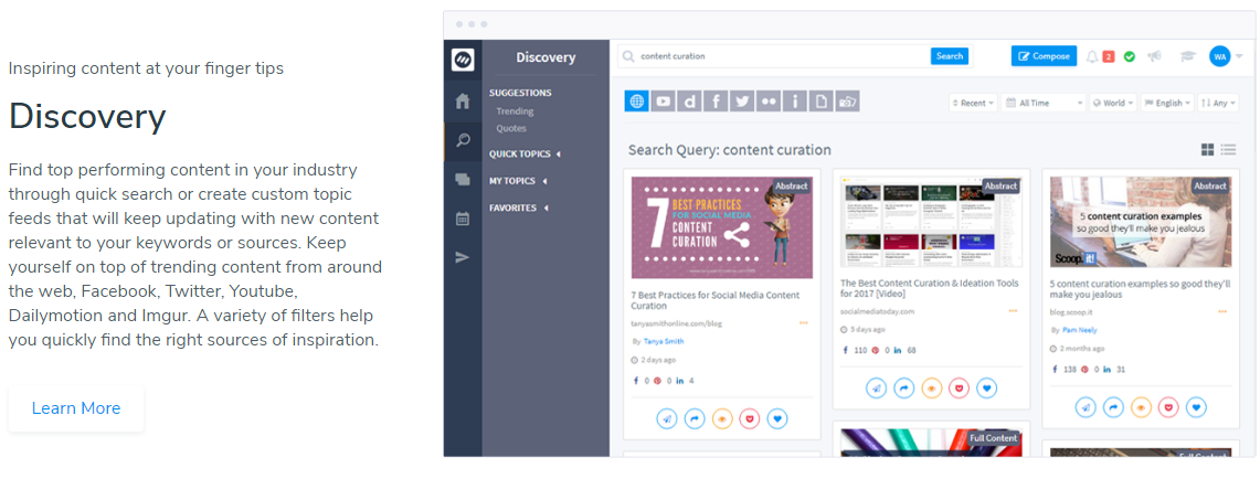Content curation - ContentStudio