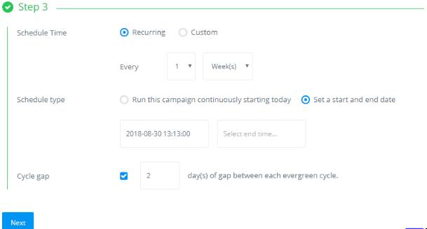 Recurring Evergreen Campaign - ContentStudio