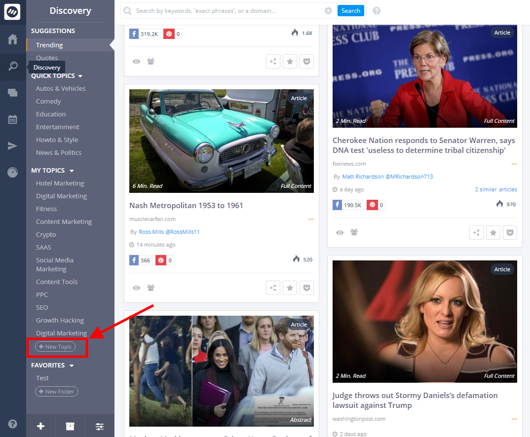 content curation tools - ContentStudio