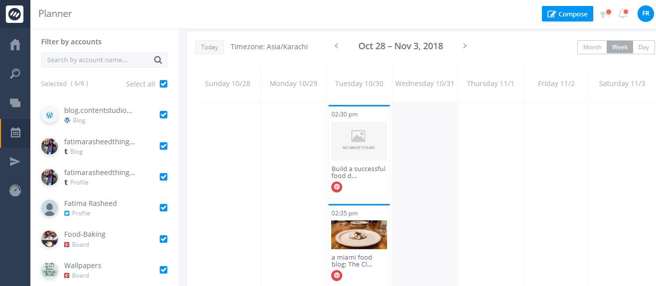 Social Calendar- ContentStudio