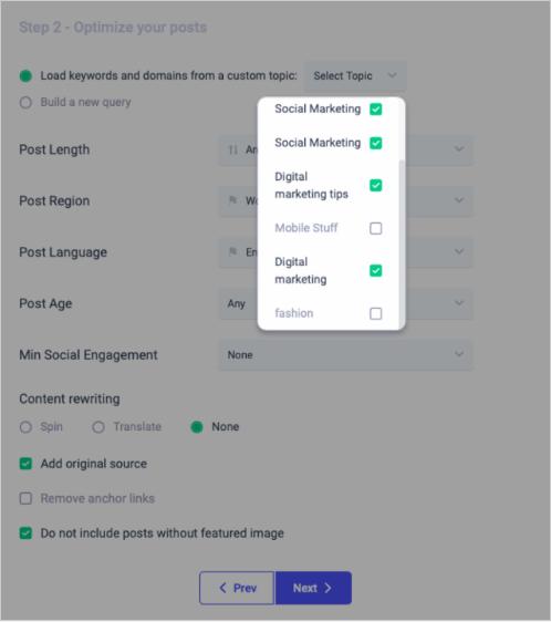Custom Topic Selection - ContentStudio
