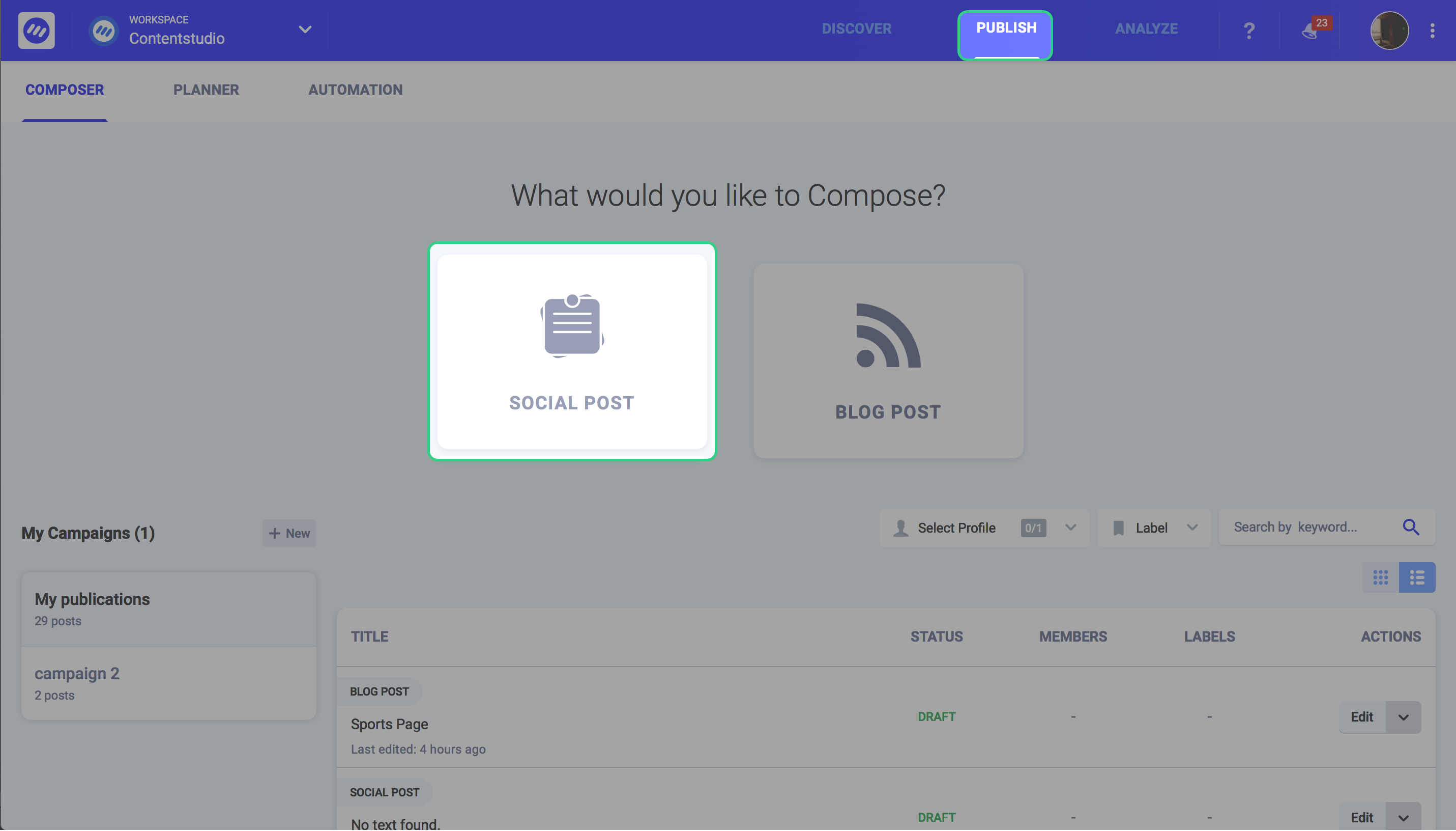 social media management for small business - ContentStudio