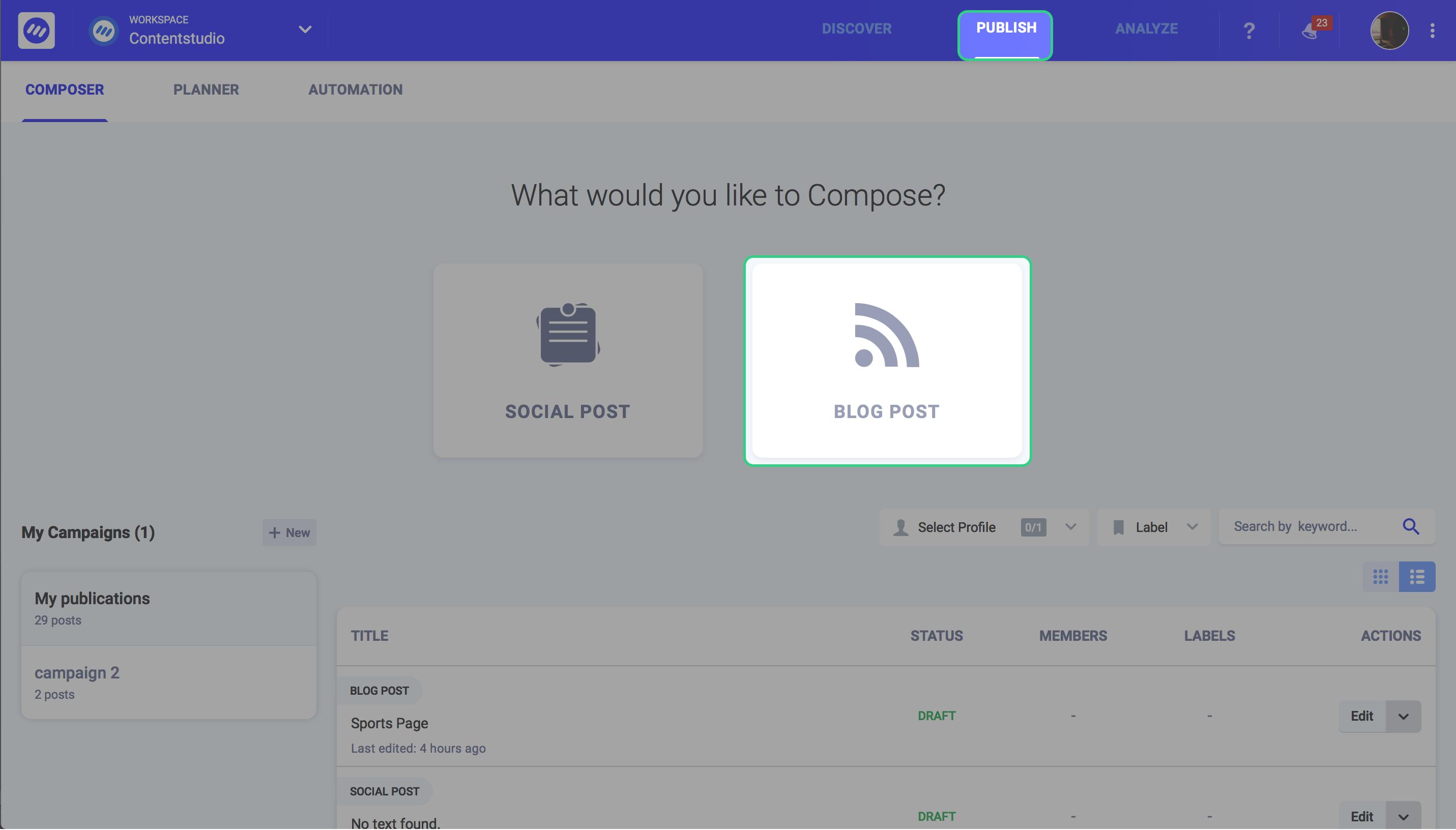 content advertising - ContentStudio