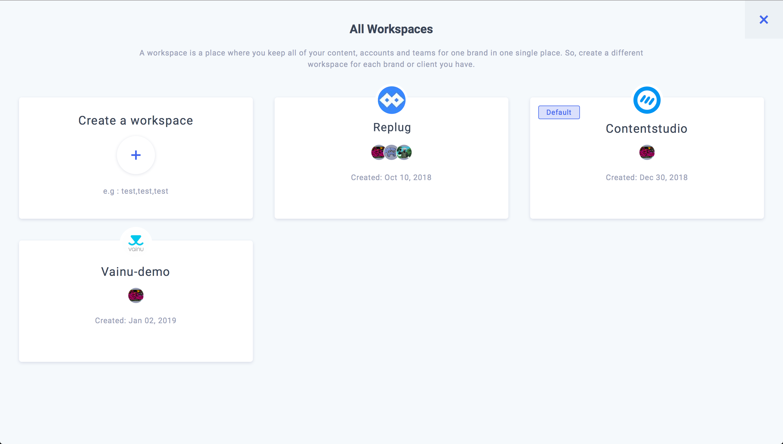 Workspaces in ContentStudio