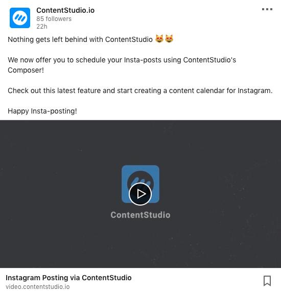 Publish videos to LinkedIn via ContentStudio