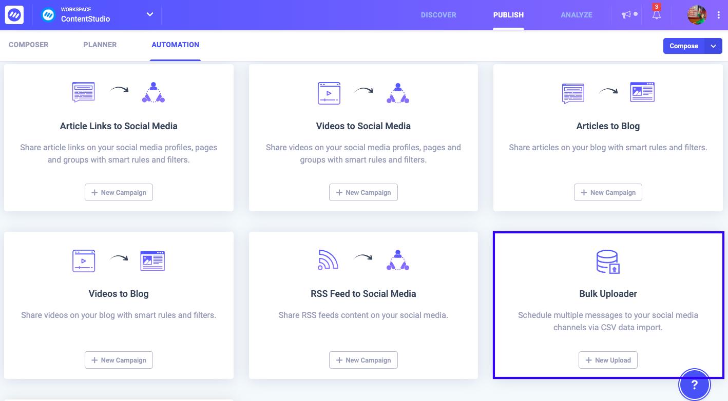 Bulk upload - Automation Recipe ContentStudio