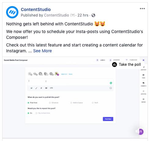Upload videos to Facebook via ContentStudio
