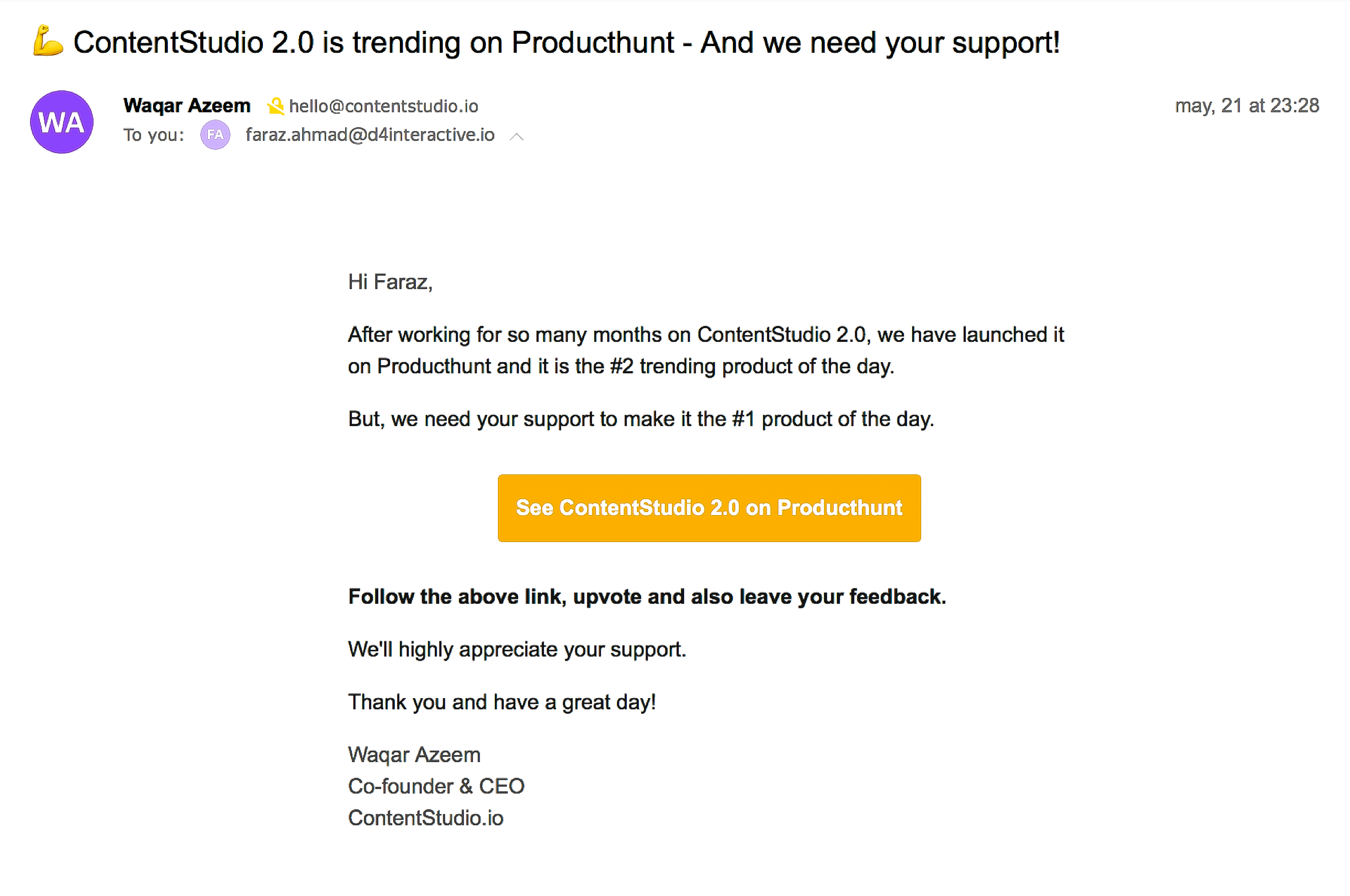 Email Outreach - ProductHunt