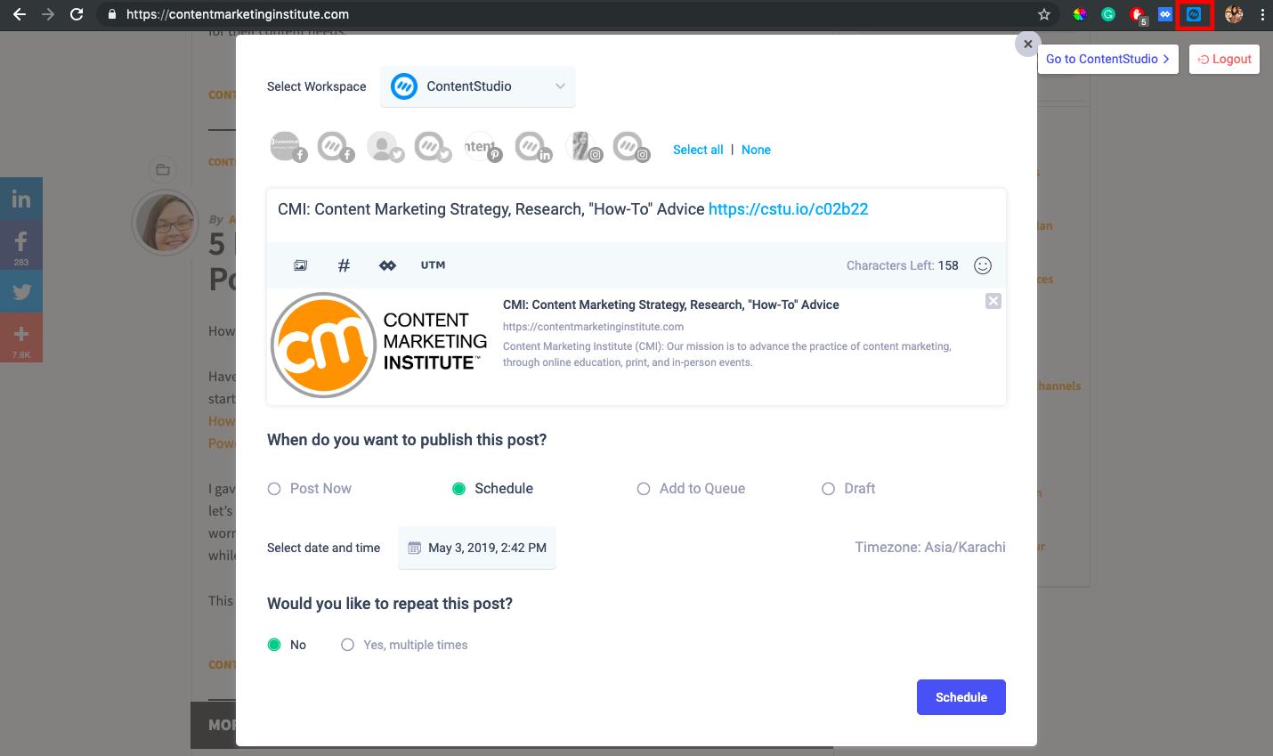 Chrome Extension - ContentStudio