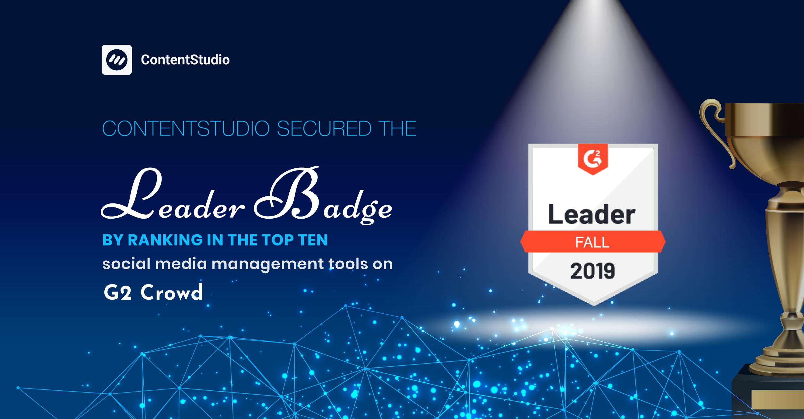 G2 Crowd Leader Award - ContentStudio