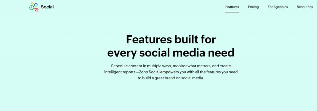 Zoho social for social media field