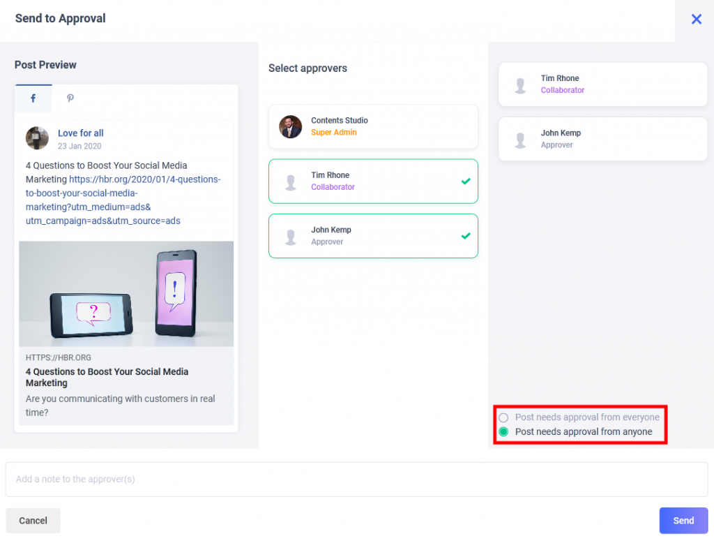 workflow approval for social media