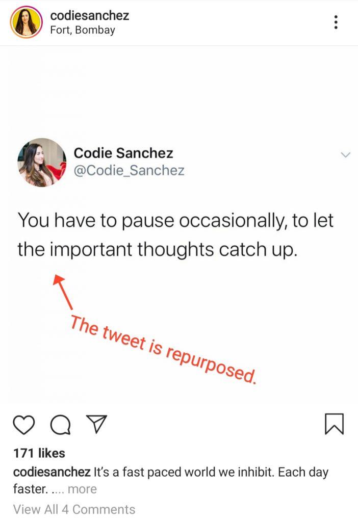 repuposed tweet for instagram marketing