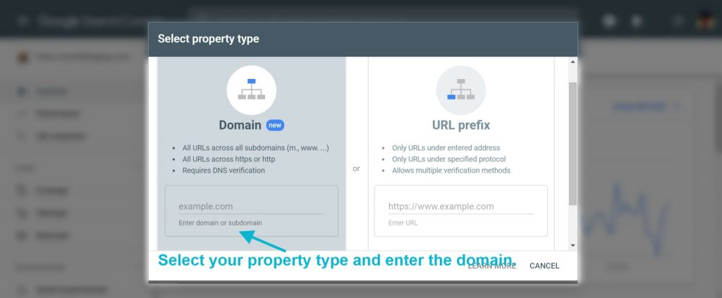 Step3- Search console account