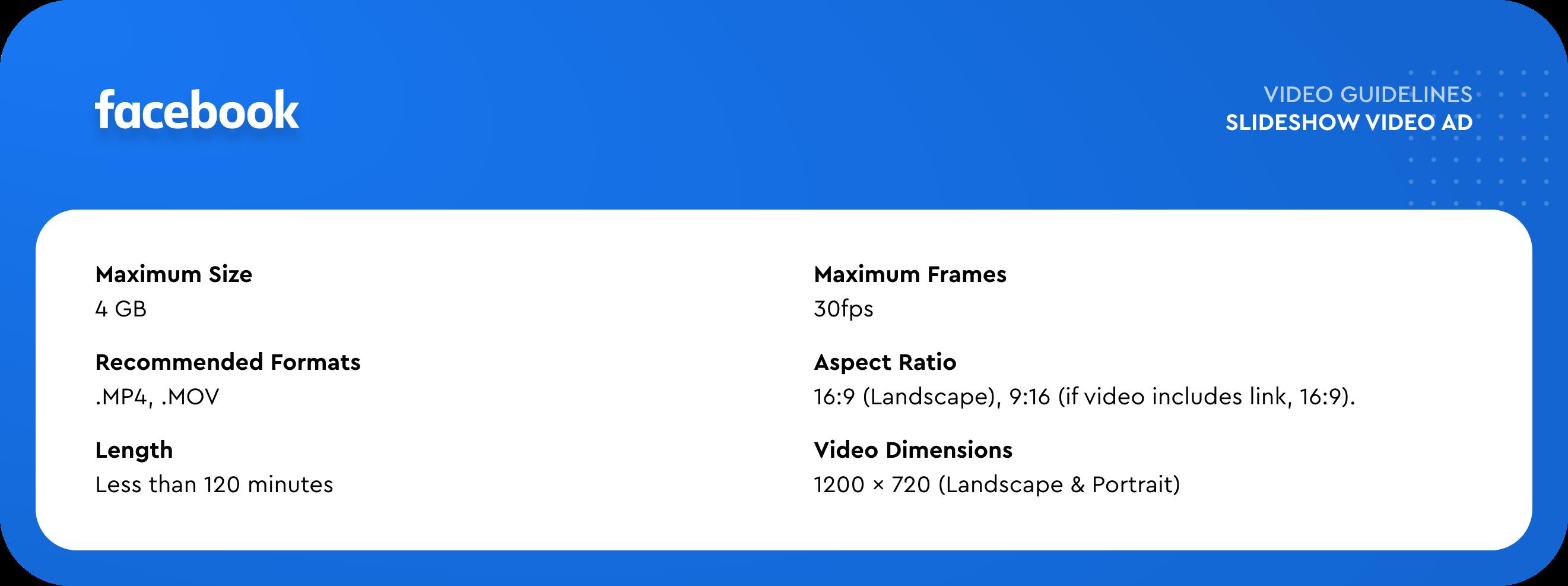 facebook Slideshow Video Ad specs