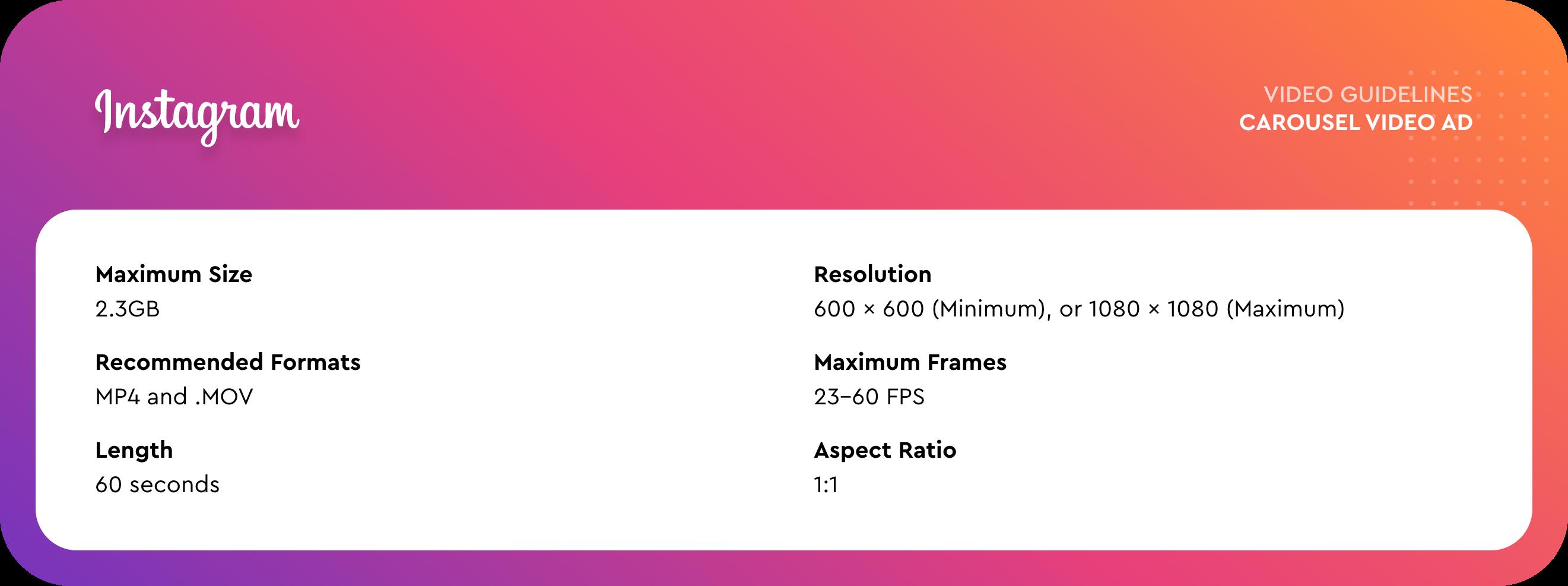 Insatgram aspect ratio Carousel Ad video format