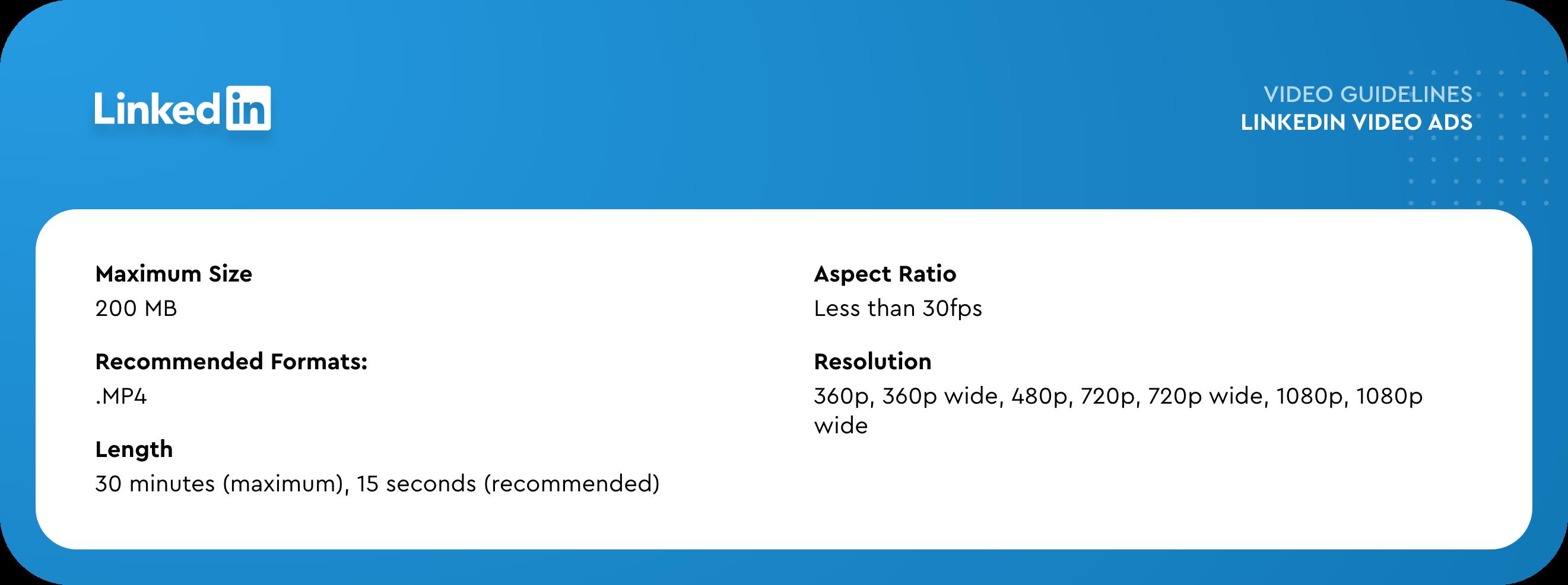LinkedIn video ads specs