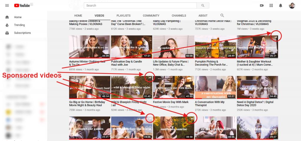 sponsored videos influencer