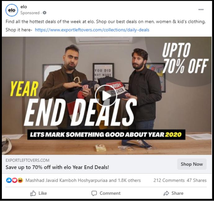 elo year end sale ad on social media