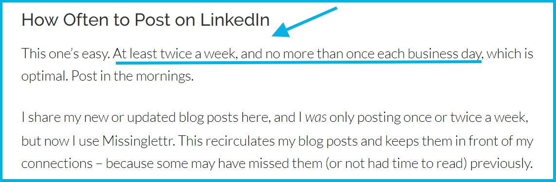 number of times to post on Linkedin