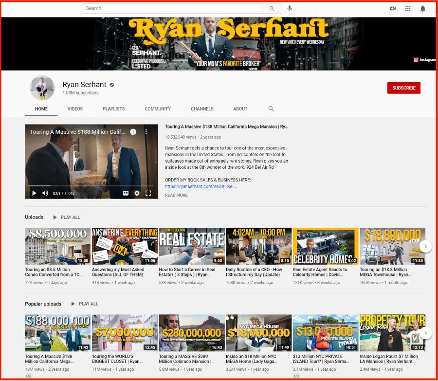 Ryan Serhant real estate social channel