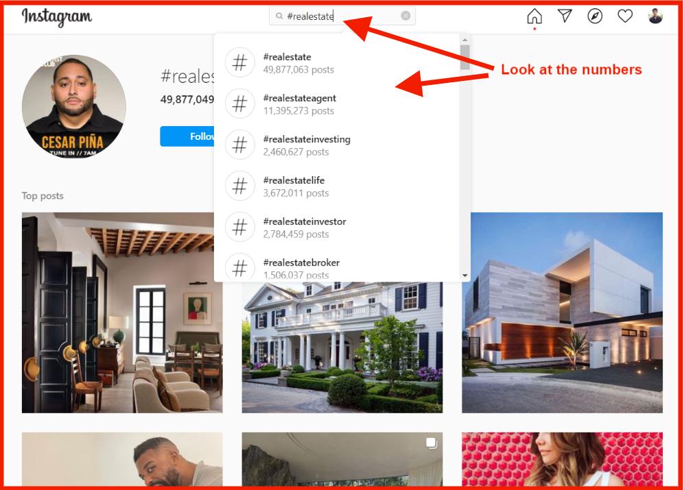 real estate on instagram