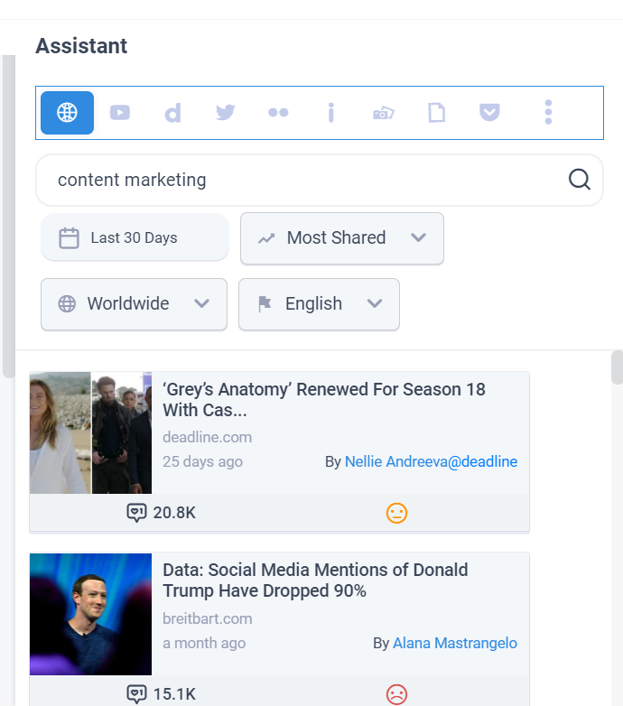 Assistant search social media post