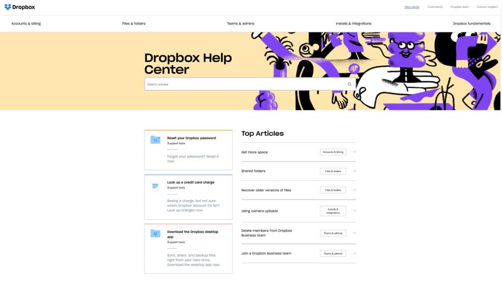 Dropbox help center