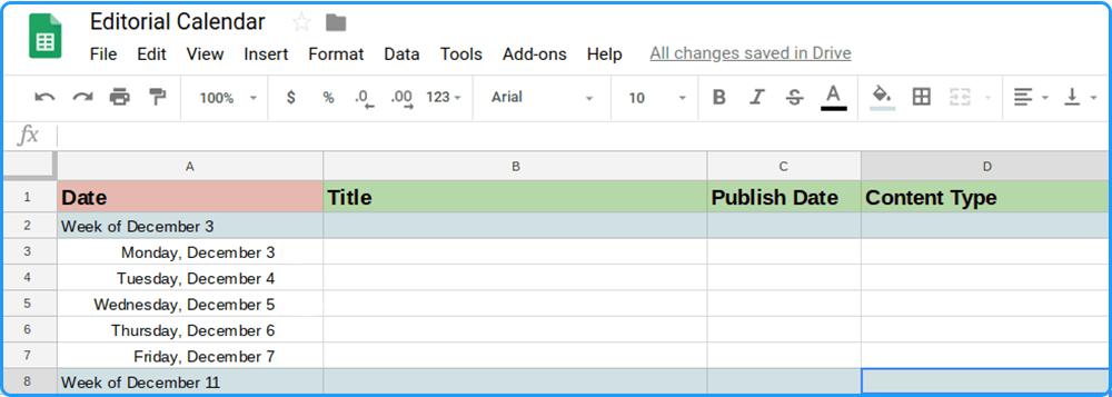 google sheets calendar