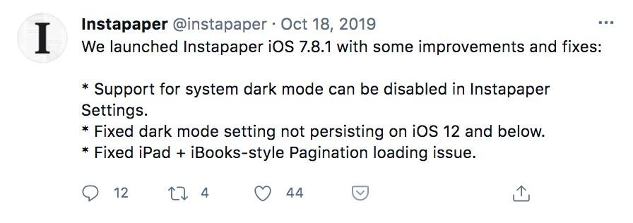 Instapaper-Twetter support