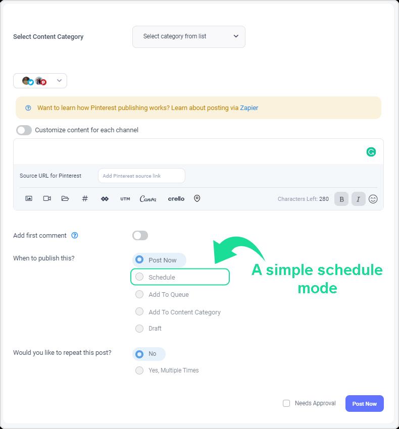 simple schedule mode