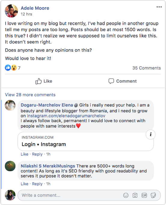 Adele Moore Posting on Facebook to ask for opinion on growth