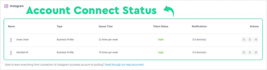 ContentStudio Account Connect Status