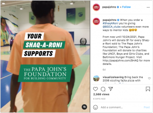 Papa Johns Instagram post showing support for Shaq a Roni