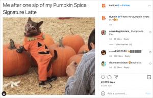 Dunkin using memes for Instagram promotion