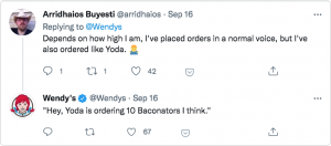 Wendy's replying to a tweet by a diner