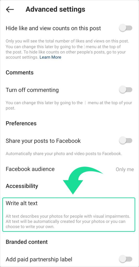 Instagram Alt text for posts