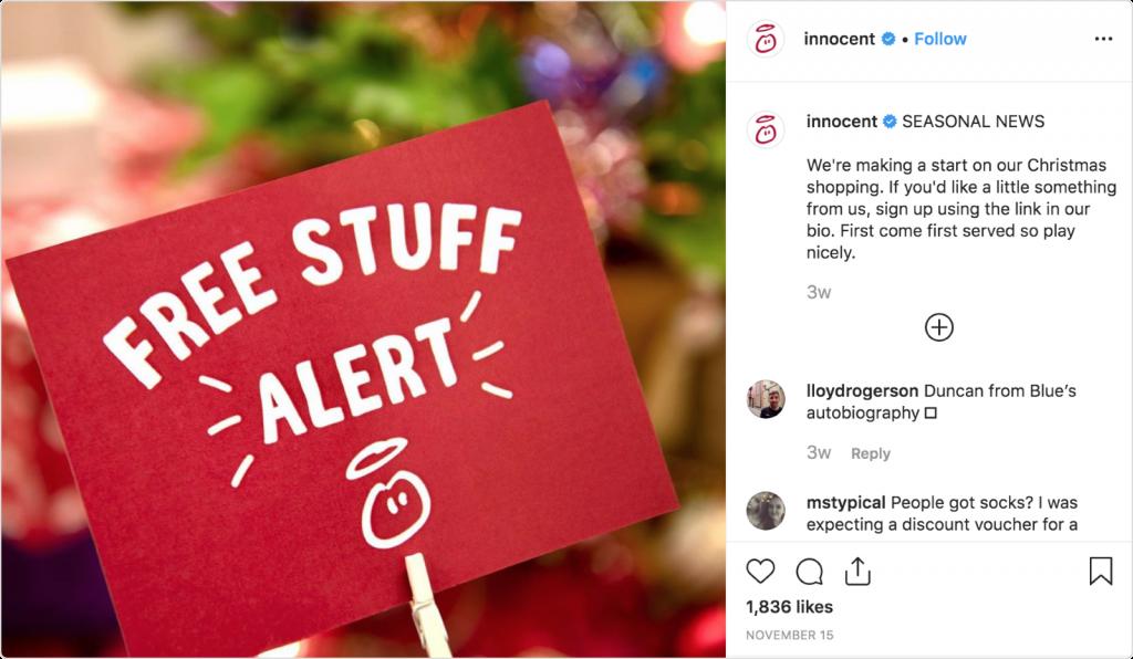 Innocent seasonal news post on Instagram