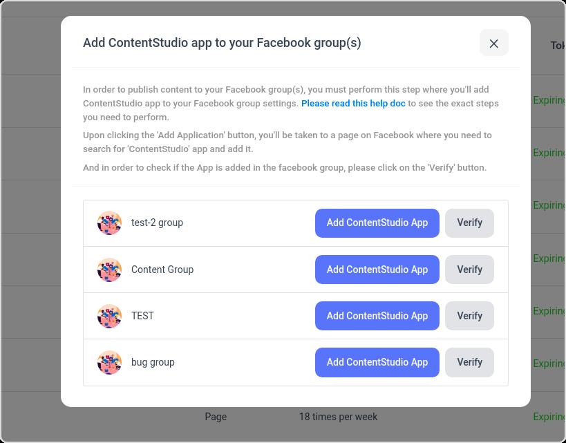 Facebook group app install