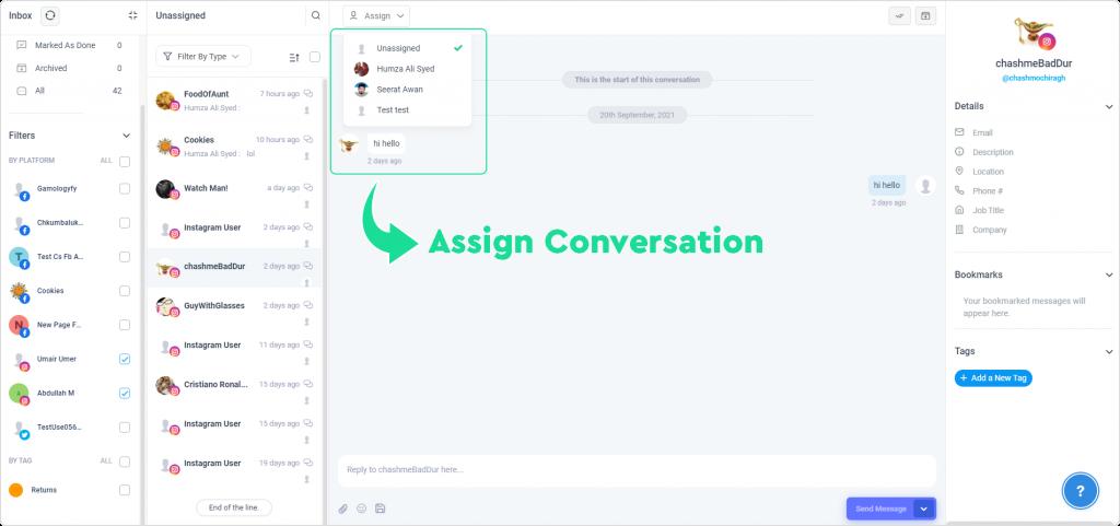 Assign conversation to a team member for Instagram Management