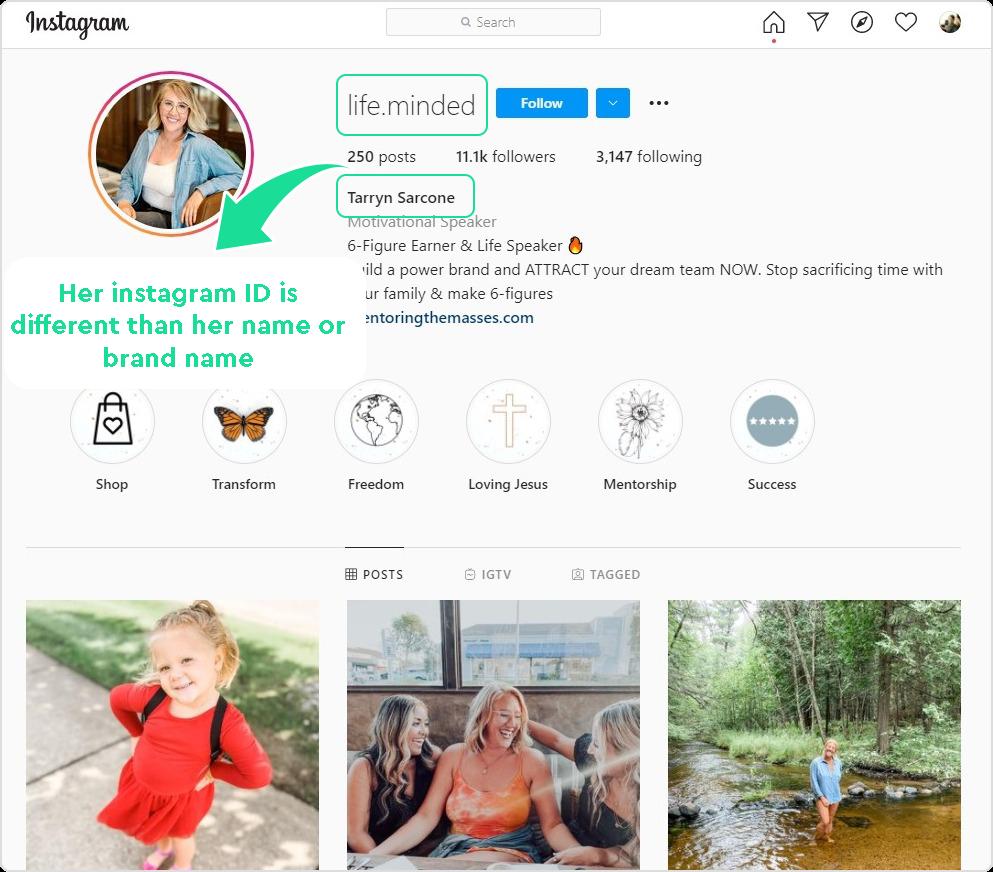 Tarryn Sarcone's Instagram Profile