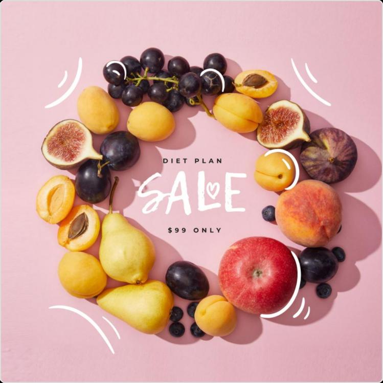 Instagram post of a Diet Plan on Sale