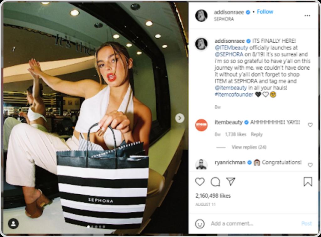 Addisonraee marketing Sephora on Instagram